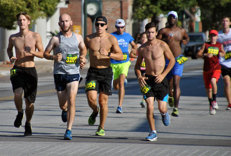 Jon Behm - The Morning Journal<br> From left, Sam McClelland, Creighton Jensen, Alex Radanovich and Timmy Adkins led the pack early during the eighth annual Journal Jog on July 30.