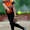 Beverly Bandits pitcher Lora Olson lets a pitch fly against the Batbusters Gold  during the Independence Day softball tournament at Stazio Fields in Boulder, Colorado July 3, 2011.  CAMERA/Mark Leffingwell