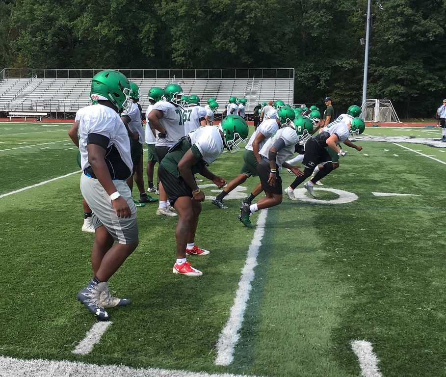 . Mark Podolski - The News-Herald The Lake Erie football team practices Aug. 9 at Jack Britt Stadium in Painesville.
