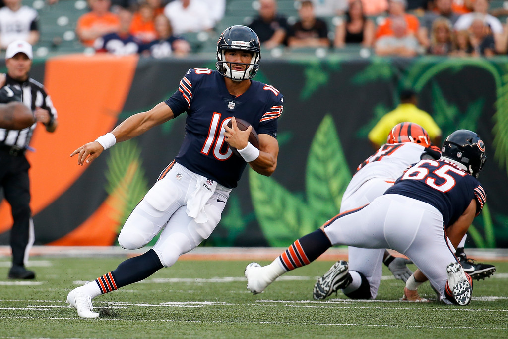. Chicago Bears quarterback Mitchell Trubisky looks to pass in the first half of an NFL preseason football game against the Cincinnati Bengals, Thursday, Aug. 9, 2018, in Cincinnati. (AP Photo/Frank Victores)