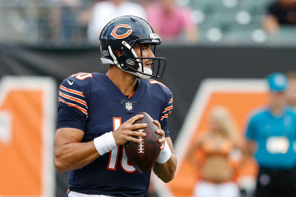 . Chicago Bears quarterback Mitchell Trubisky looks to throw in the first half of an NFL preseason football game against the Cincinnati Bengals, Thursday, Aug. 9, 2018, in Cincinnati. (AP Photo/Gary Landers)