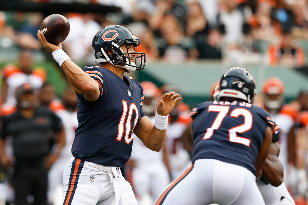 . Chicago Bears quarterback Mitchell Trubisky throws in the first half of an NFL preseason football game against the Cincinnati Bengals, Thursday, Aug. 9, 2018, in Cincinnati. (AP Photo/Gary Landers)