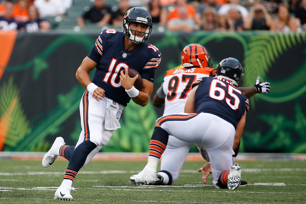 . Chicago Bears quarterback Mitchell Trubisky carries the ball during the first half of the team\'s NFL preseason football game against the Cincinnati Bengals, Thursday, Aug. 9, 2018, in Cincinnati. (AP Photo/Frank Victores)