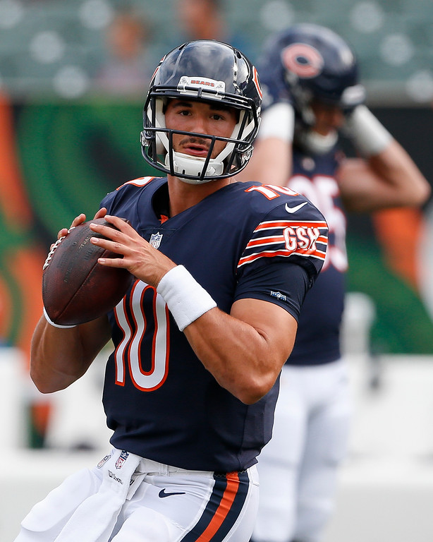 . Chicago Bears quarterback Mitchell Trubisky practices before an NFL preseason football game, Thursday, Aug. 9, 2018, in Cincinnati. (AP Photo/Frank Victores)