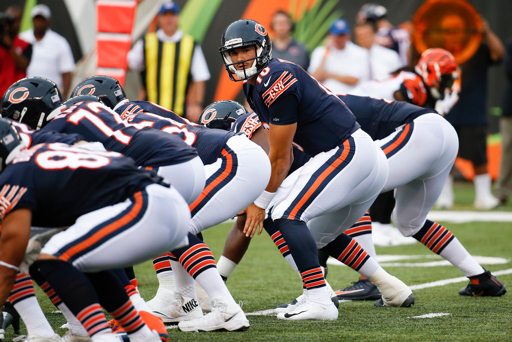 . Chicago Bears quarterback Mitchell Trubisky prepares for the snap in the first half of an NFL preseason football game against the Cincinnati Bengals, Thursday, Aug. 9, 2018, in Cincinnati. (AP Photo/Frank Victores)