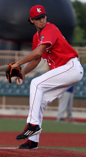 Crushers starting pitcher Juan Caballero delivers a pitch against Windy City on Aug. 17. Randy Meyers -- The Morning Journal