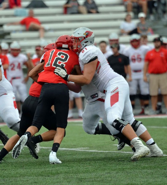 Paul DiCicco - The News-Herald<br /> Action from the Chardon-Mentor scrimmage at Jerome Osborne Stadium on Aug. 17.