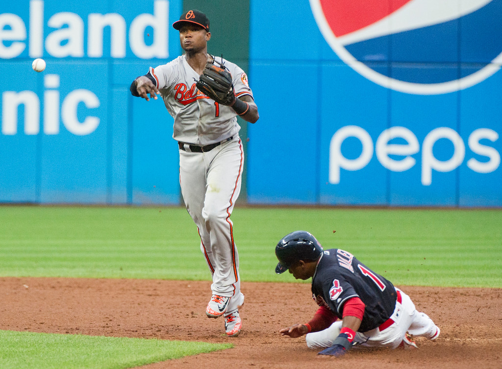 . Baltimore Orioles\' Tim Beckham throws to first after forcing Cleveland Indian\'s Greg Allen at second to complete a double play during the third inning of a baseball game in Cleveland, Friday, Aug. 17, 2018. (AP Photo/Phil Long)