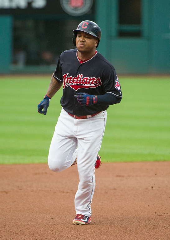 . Cleveland Indians\' Jose Ramirez rounds the bases after hitting a two-run home run off Baltimore Orioles starting pitcher David Hess during the first inning of a baseball game in Cleveland, Friday, Aug. 17, 2018. (AP Photo/Phil Long)