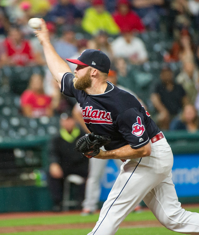 . Cleveland Indians relief pitcher Cody Allen delivers to Baltimore Orioles\' Renato Nunez during the ninth inning of a baseball game in Cleveland, Friday, Aug. 17, 2018. (AP Photo/Phil Long)