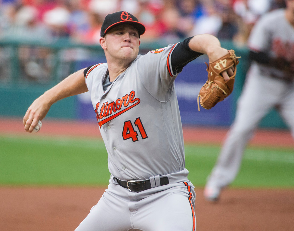 . Baltimore Orioles starting pitcher David Hess delivers to Cleveland Indians\' Michael Brantley during the first inning of a baseball game in Cleveland, Friday, Aug. 17, 2018. (AP Photo/Phil Long)