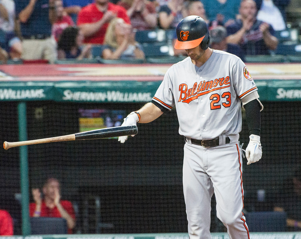 . Baltimore Orioles\' Joey Rickard flips his bat after being struck out by Cleveland Indians starting pitcher Carlos Carrasco with the bases loaded during the fourth inning a baseball game in Cleveland, Friday, Aug. 17, 2018. (AP Photo/Phil Long)
