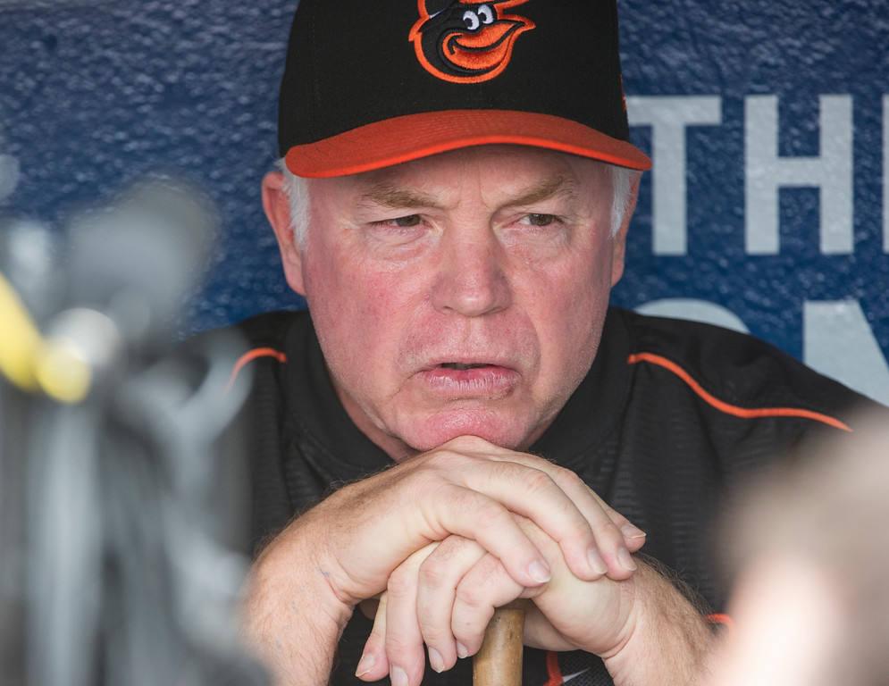 . Baltimore Orioles manager Buck Showalter speaks with reporters before the team plays the Cleveland Indians in a baseball game in Cleveland, Friday, Aug. 17, 2018. (AP Photo/Phil Long)