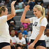 Titans Sarah Leighliter (8) and Raegan Osko salute each other before their match against Open Door. Eric Bonzar -- The Morning Journal
