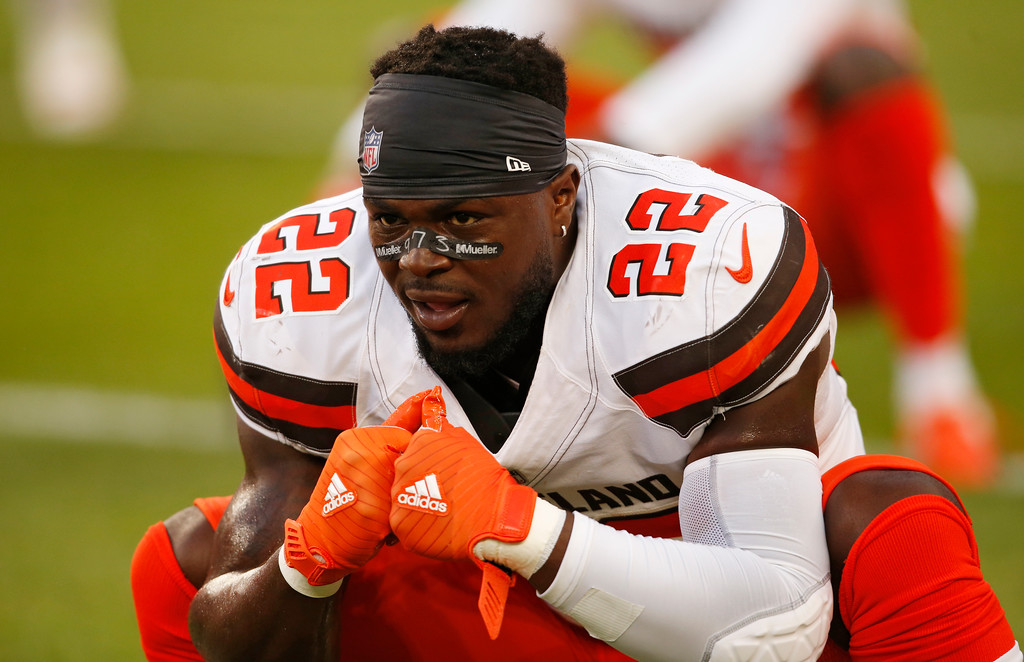 . Cleveland Browns defensive back Jabrill Peppers warm up before an NFL football game between the Browns and the Philadelphia Eagles, Thursday, Aug. 23, 2018, in Cleveland. (AP Photo/Ron Schwane)