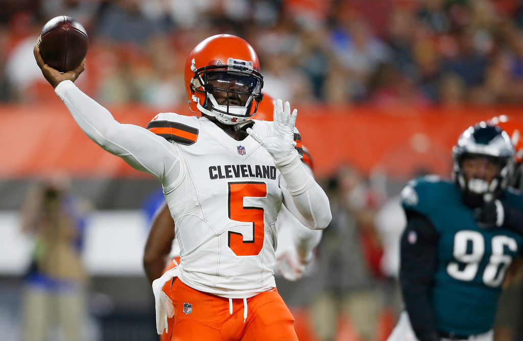 . Cleveland Browns quarterback Tyrod Taylor throws during the first half of an NFL football game against the Philadelphia Eagles, Thursday, Aug. 23, 2018, in Cleveland. (AP Photo/Ron Schwane)