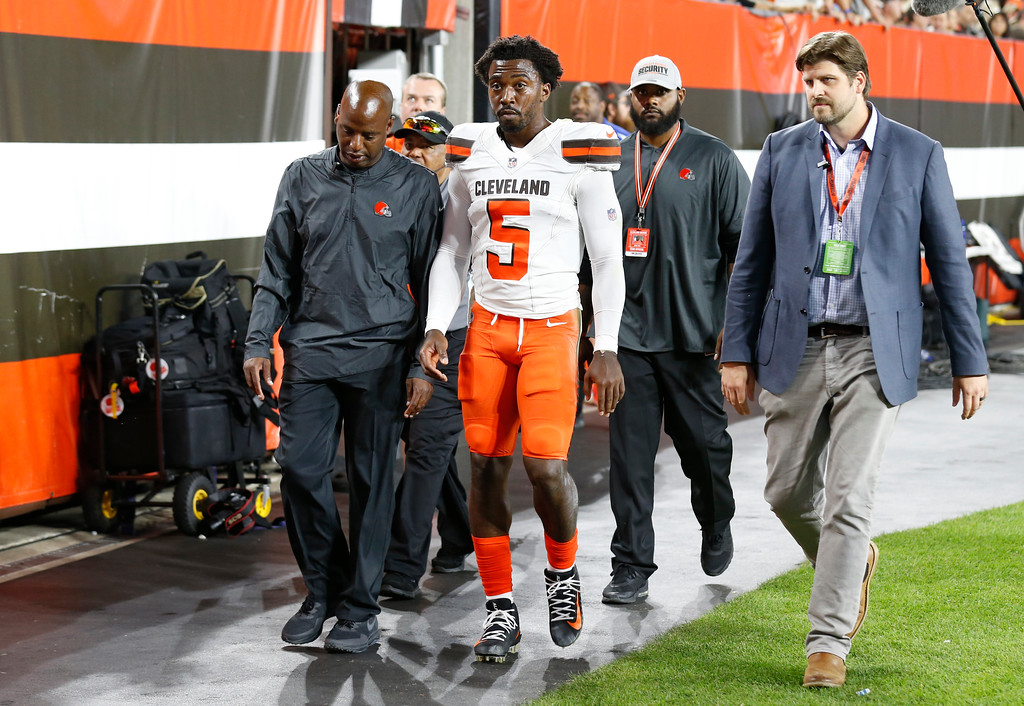 . Cleveland Browns quarterback Tyrod Taylor (5) walks to the locker room during the first half of an NFL preseason football game against the Philadelphia Eagles, Thursday, Aug. 23, 2018, in Cleveland. (AP Photo/Ron Schwane)