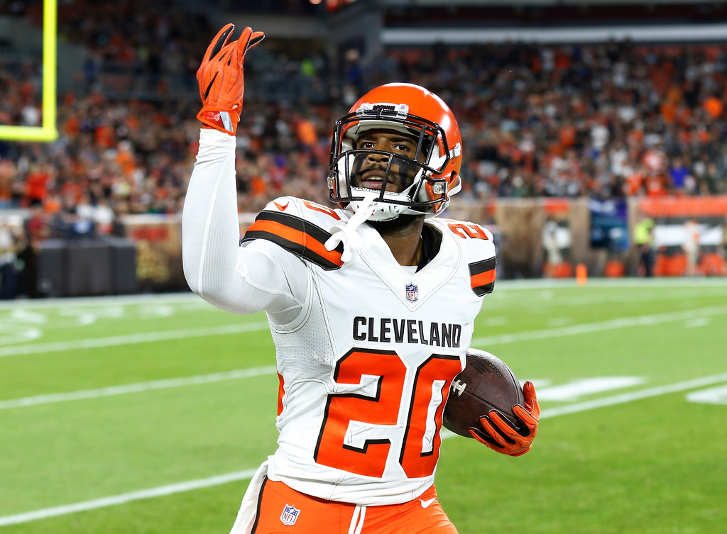 . Cleveland Browns cornerback Briean Boddy-Calhoun celebrates after an interception during the first half of an NFL preseason football game against the Philadelphia Eagles, Thursday, Aug. 23, 2018, in Cleveland. (AP Photo/Ron Schwane)
