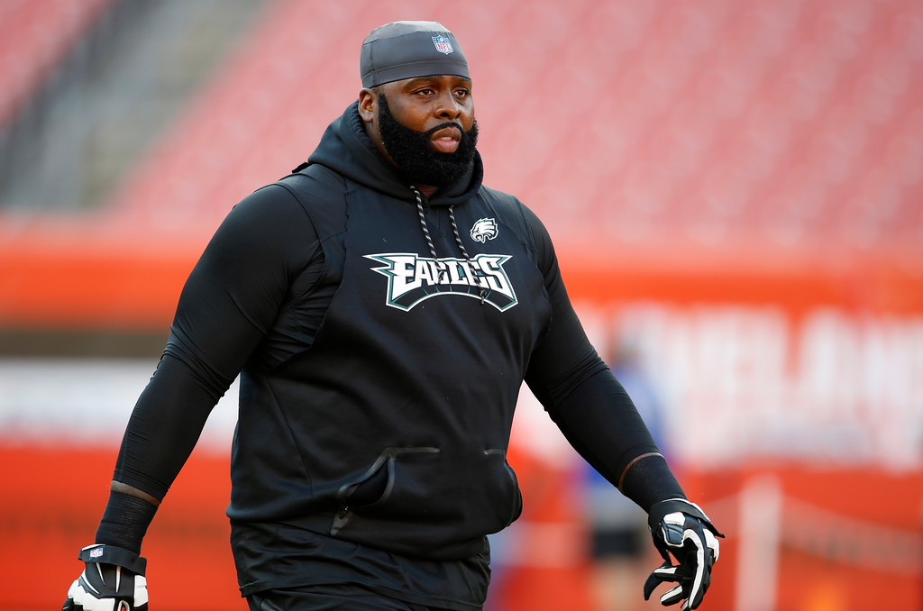 . Philadelphia Eagles offensive tackle Jason Peters warms up before an NFL football game between the Cleveland Browns and the Eagles, Thursday, Aug. 23, 2018, in Cleveland. (AP Photo/Ron Schwane)