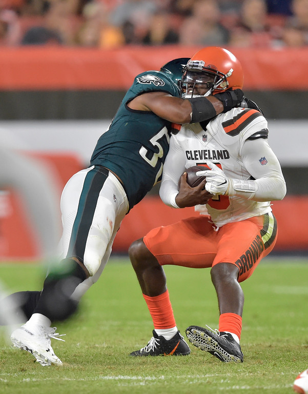 . Cleveland Browns quarterback Tyrod Taylor is sacked during the first half of an NFL preseason football game against the Philadelphia Eagles, Thursday, Aug. 23, 2018, in Cleveland. (AP Photo/David Richard)