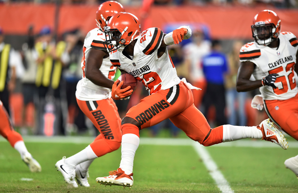 . Cleveland Browns defensive back Jabrill Peppers (22) returns a kick during the first half of an NFL preseason football game against the Philadelphia Eagles, Thursday, Aug. 23, 2018, in Cleveland. (AP Photo/David Richard)