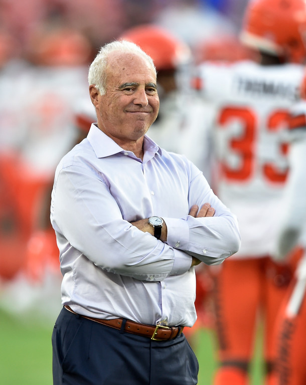 . Philadelphia Eagles owner Jeffrey Lurie watches before an NFL football game between the Browns and the Philadelphia Eagles, Thursday, Aug. 23, 2018, in Cleveland. (AP Photo/David Richard)