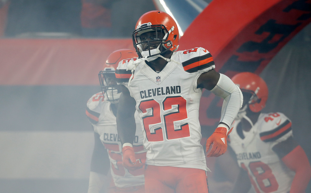 . Cleveland Browns defensive back Jabrill Peppers (22) is introduced before an NFL football game between the Browns and the Philadelphia Eagles, Thursday, Aug. 23, 2018, in Cleveland. (AP Photo/Ron Schwane)