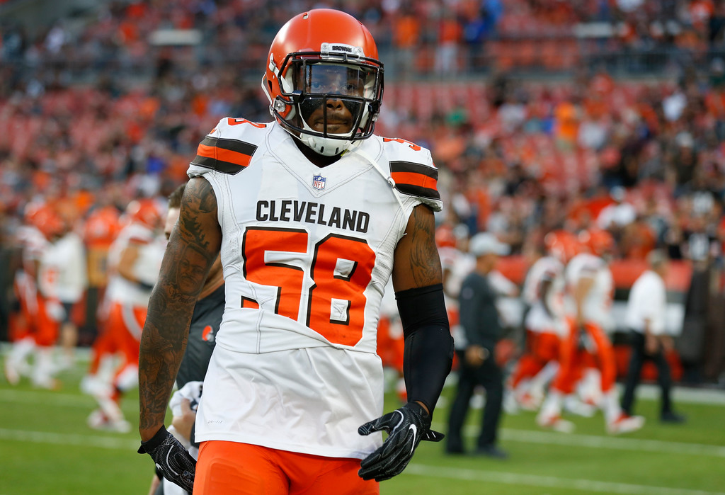 . Cleveland Browns linebacker Christian Kirksey warms up before an NFL football game between the Browns and the Philadelphia Eagles, Thursday, Aug. 23, 2018, in Cleveland. (AP Photo/Ron Schwane)