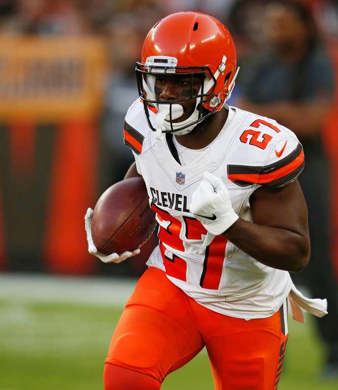 . Cleveland Browns running back Matt Dayes warms up before an NFL football game between the Browns and the Philadelphia Eagles, Thursday, Aug. 23, 2018, in Cleveland. (AP Photo/Ron Schwane)