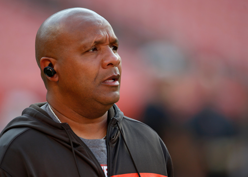 . Cleveland Browns head coach Hue Jackson watches during warm-ups before an NFL football game between the Browns and the Philadelphia Eagles, Thursday, Aug. 23, 2018, in Cleveland. (AP Photo/Ron Schwane)