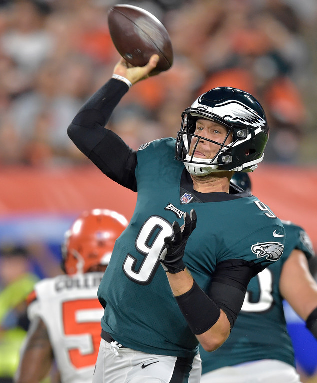 . Philadelphia Eagles quarterback Nick Foles throws an interception during the first half of an NFL preseason football game against the Cleveland Browns, Thursday, Aug. 23, 2018, in Cleveland. (AP Photo/David Richard)