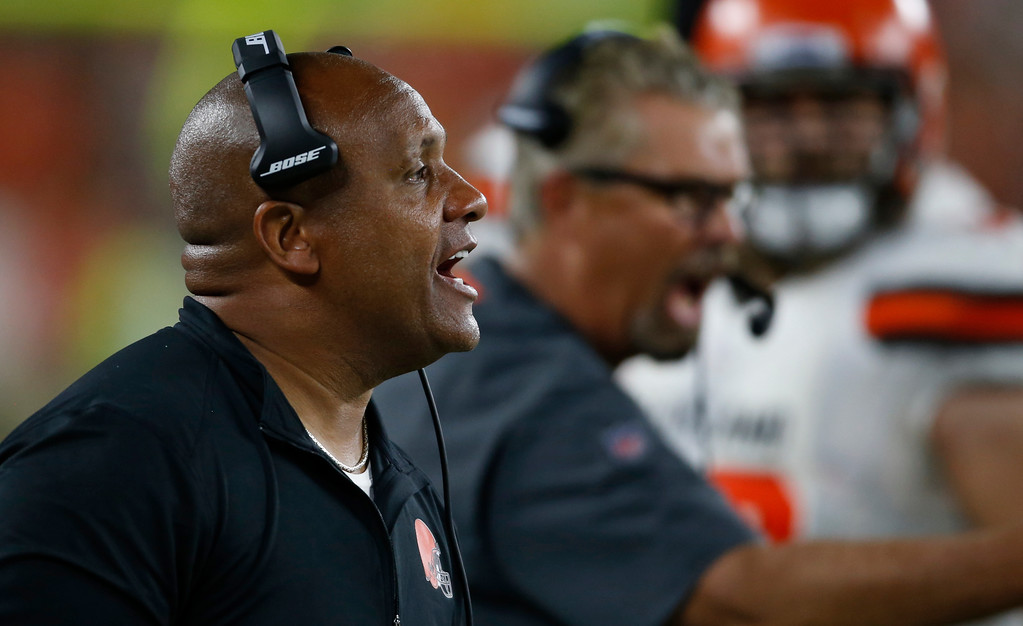 . Cleveland Browns head coach Hue Jackson yells instructions to players during the first half of an NFL preseason football game against the Philadelphia Eagles, Thursday, Aug. 23, 2018, in Cleveland. (AP Photo/Ron Schwane)