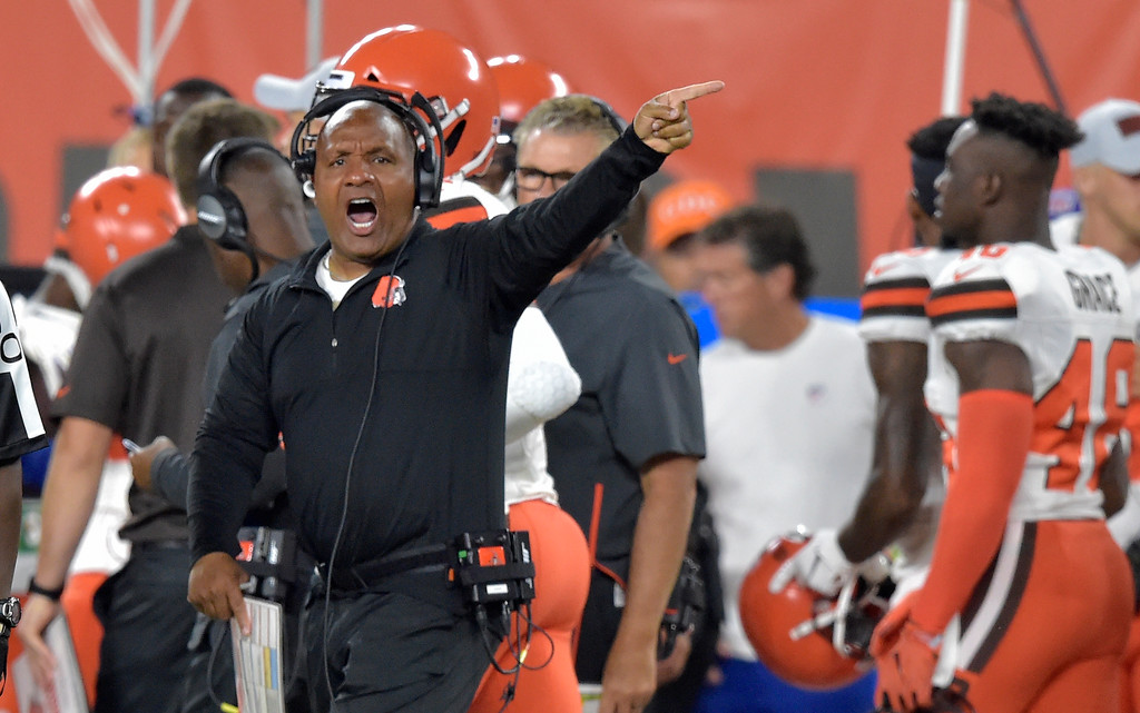 . Cleveland Browns head coach Hue Jackson reacts during the first half of an NFL preseason football game against the Philadelphia Eagles, Thursday, Aug. 23, 2018, in Cleveland. (AP Photo/David Richard)