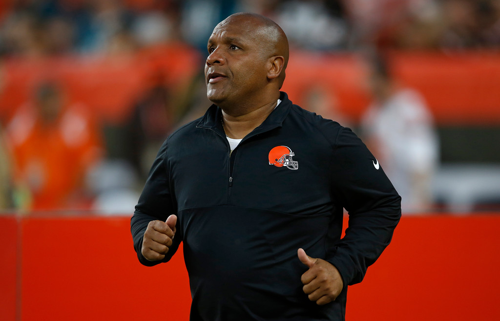 . Cleveland Browns head coach Hue Jackson runs out onto the field before an NFL football game against the Philadelphia Eagles, Thursday, Aug. 23, 2018, in Cleveland. (AP Photo/Ron Schwane)
