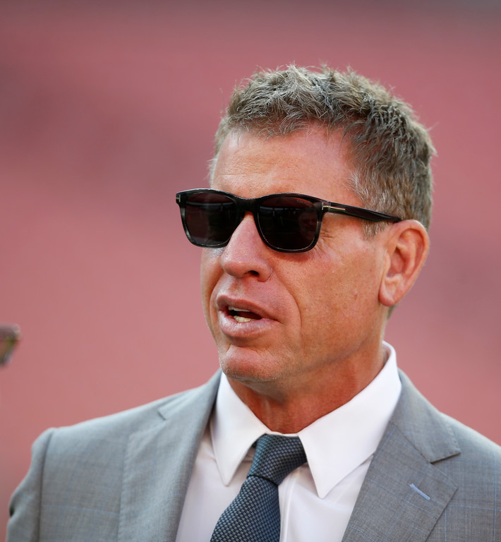 . Former Dallas Cowboys quarterback Troy Aikman is shown before an NFL football game between the Cleveland Browns and the Philadelphia Eagles, Thursday, Aug. 23, 2018, in Cleveland. (AP Photo/Ron Schwane)