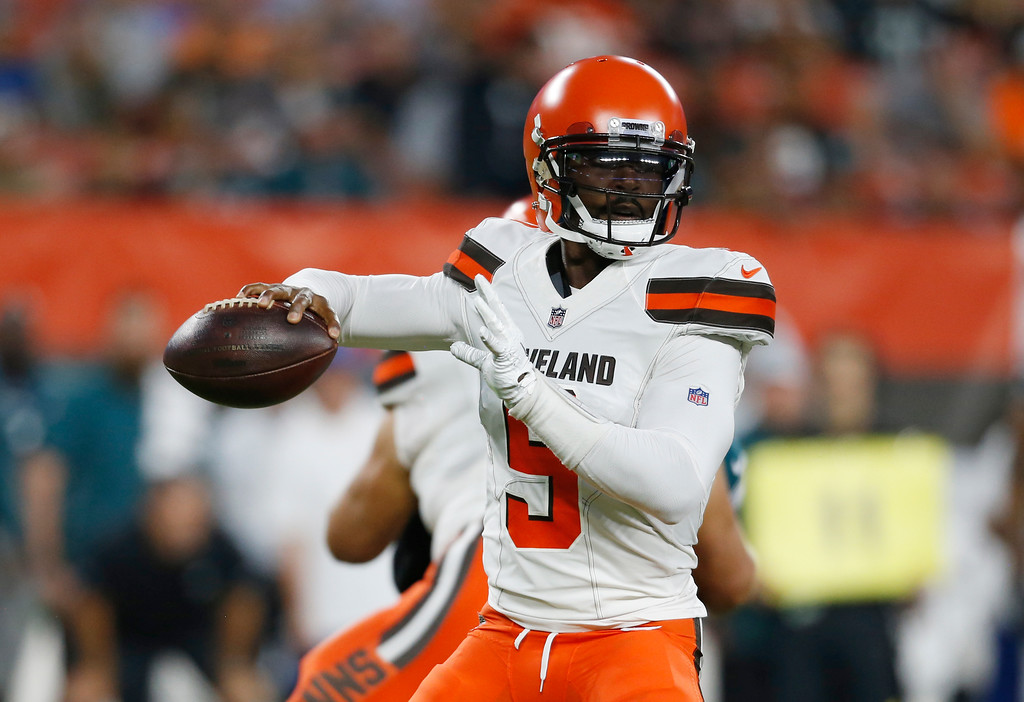 . Cleveland Browns quarterback Tyrod Taylor looks to throw during the first half of an NFL football game against the Philadelphia Eagles, Thursday, Aug. 23, 2018, in Cleveland. (AP Photo/Ron Schwane)