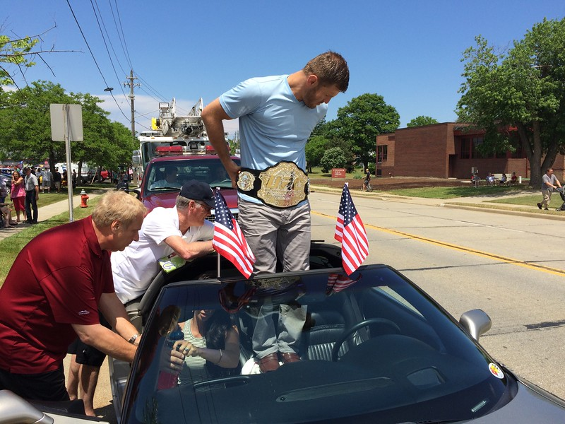 Mark Podolski - The News-Herald<br /> Stipe Miocic as the grand marshal June 5 at the Willowick Parade.