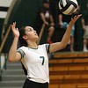 Elyria Catholic's Stephanie Ferrer prepares to serve the ball. Amanda K. Rundle -- The Morning Journal