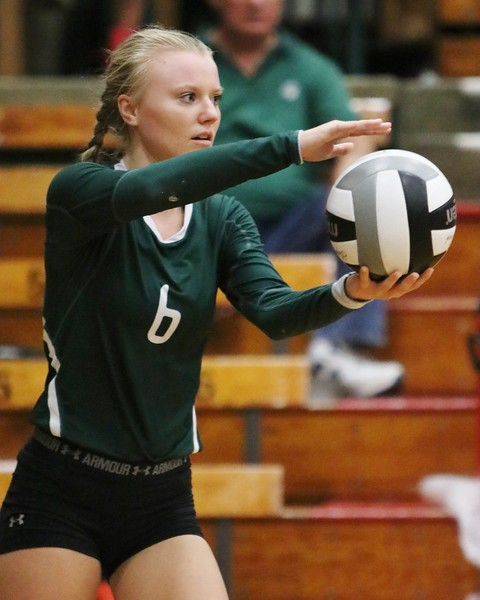 Elyria Catholic's Jasmine Hromada serves the ball during the deciding fifth set against Lorain. Amanda K. Rundle -- The Morning Journal