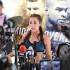 Tim Phillis - The News-Herald<br /> Jessica Eye talks to the media after her workout at Gateway Plaza Sept. 7.