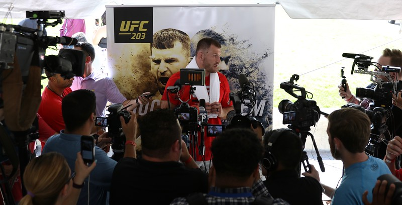 Tim Phillis - The News-Herald<br /> UFC heavyweight champion Stipe Miocic after his workout Sept. 7 at Gateway Plaza.