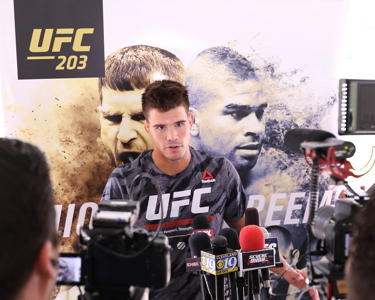 Tim Phillis - The News-Herald<br /> Mickey Gall talks to the media Sept. 7 at Gateway Plaza.
