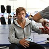 Tim Phillis - The News-Herald<br /> Urijah Faber gets his hand wrapped before a workout Sept. 7 at Gateway Plaza.