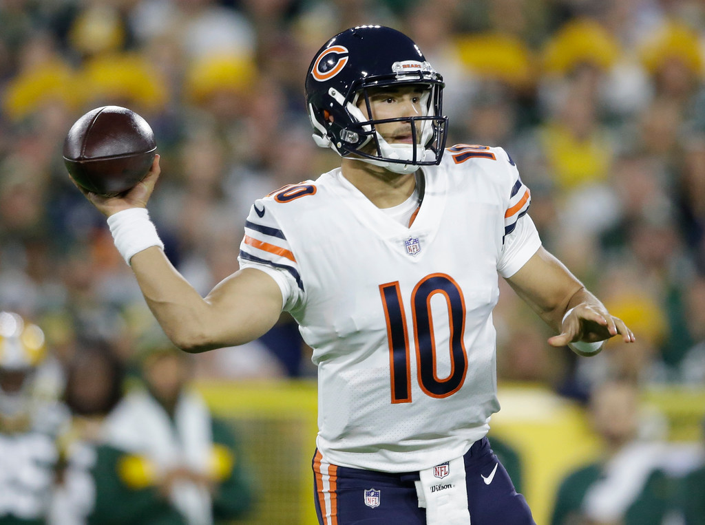 . Chicago Bears\' Mitchell Trubisky throws during the first half of an NFL football game against the Green Bay Packers Sunday, Sept. 9, 2018, in Green Bay, Wis. (AP Photo/Jeffrey Phelps)