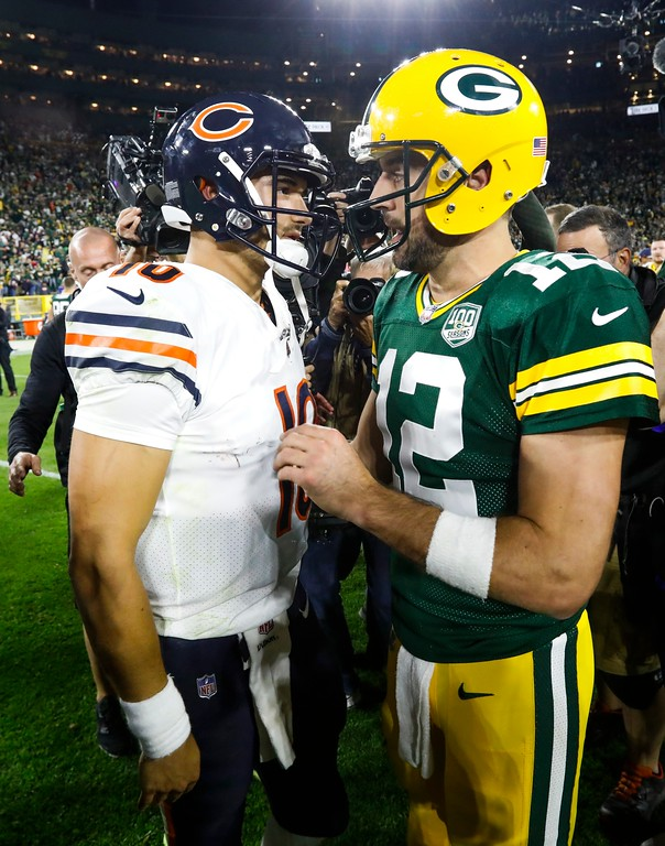 . Green Bay Packers\' Aaron Rodgers talks to Chicago Bears\' Mitchell Trubisky after an NFL football game Sunday, Sept. 9, 2018, in Green Bay, Wis. The Packers won 24-23. (AP Photo/Mike Roemer)