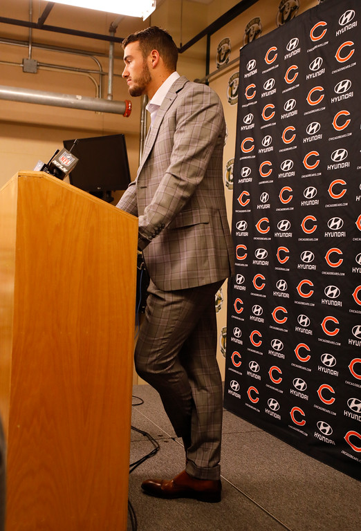 . Chicago Bears\' Mitchell Trubisky answers questions after an NFL football game against the Green Bay Packers Sunday, Sept. 9, 2018, in Green Bay, Wis. The Packers won 24-23. (AP Photo/Jeffrey Phelps)