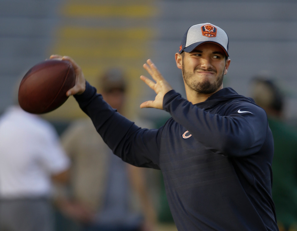 . Chicago Bears\' Mitchell Trubisky warms up before an NFL football game against the Green Bay Packers Sunday, Sept. 9, 2018, in Green Bay, Wis. (AP Photo/Jeffrey Phelps)