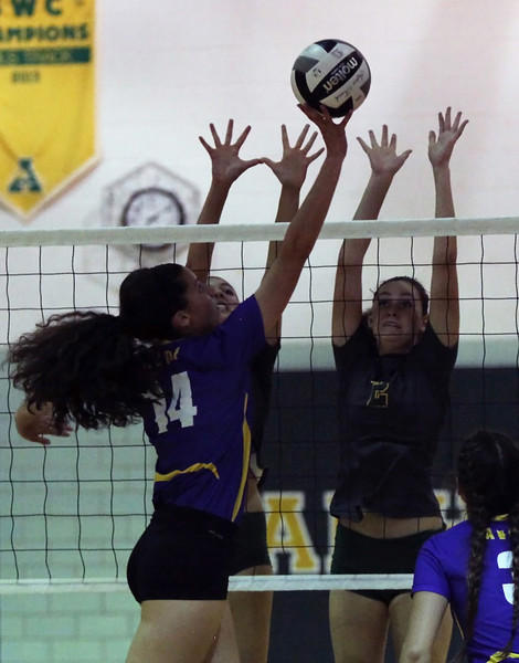 Avon's Katie Koziarz tips the ball past Sarah Farley and Alana Carrion of Amherst for the point. Randy Meyers -- The Morning Journal