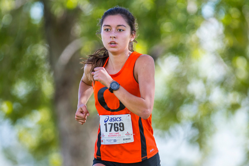 Kalii Caldwell (1769) Finishes 2nd during the Girl's Varsity 5K at  the Weber City and County track meet in Ogden on Wednesday September 13, 2017.