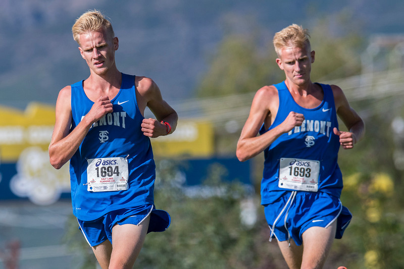 Fremont teammates Zachary Winter (1694) and Bronson Winter (1693) finish 1st and 2nd during the Weber City and County track meet at the Weber County Fairgrounds in Ogden on Wednesday September 13, 2017.